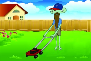 Artist's depiction of what Steve Phillips says is an alien mowing his neighbor's lawn recently like it was no big deal.