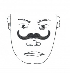 "Artist depiction of the ""nosestache"".  Horncraft said in the future, people will grow moustaches on the bridge of their nose"