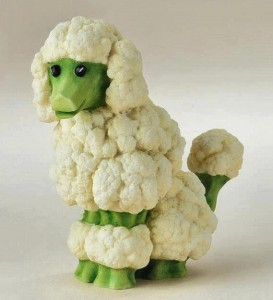 Here is a fancy broccoli and cauliflower dog you could create with the stalks.