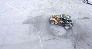 One of the most powerful images is an areal view of a car doing doughnuts.