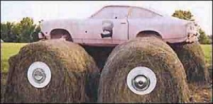 "This car on some hay bails says, ""listen to me."""