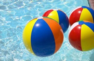 Balls invaded the local Coma pool during a swim meet and upset the children.