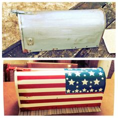 This is an example of your mailbox without the patriot flag and then a second example has the flag added.