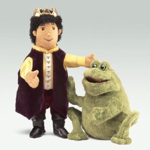This Frog Prince and his frog have yet to allow the puppeteers to insert their hands or speak for them.