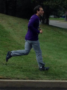 A participant warms up for a race.