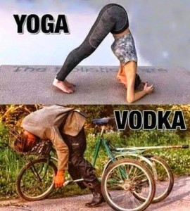 Studies have found that while drinking vodka is easier than doing yoga drinking Vodka produces more shameful mornings.