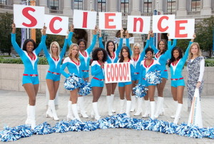 "Science is serious and so is local government and nothing says, ""this is serious"" like a cheerleader can."
