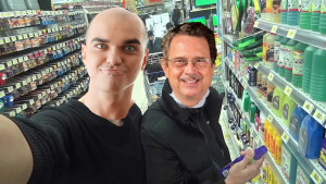 ABOVE: Horncraft poses with the celebrity at a local gas station